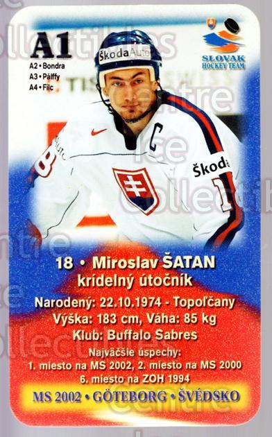 2002-03 Slovakian MS 2002 Hockey Team #A1 Miroslav Satan<br/>1 In Stock - $3.00 each - <a href=https://centericecollectibles.foxycart.com/cart?name=2002-03%20Slovakian%20MS%202002%20Hockey%20Team%20%23A1%20Miroslav%20Satan...&quantity_max=1&price=$3.00&code=643616 class=foxycart> Buy it now! </a>