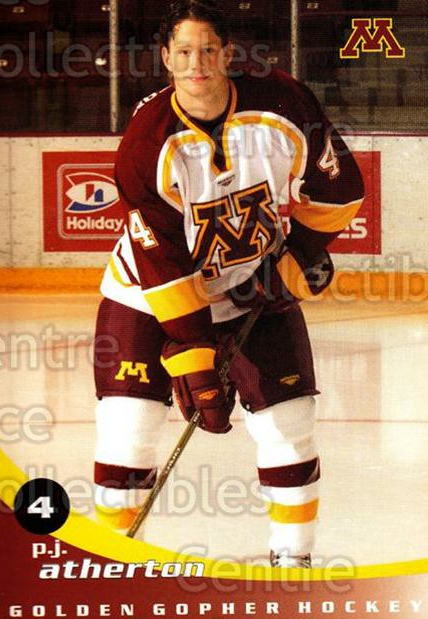 2002-03 Minnesota Golden Gophers #2 PJ Atherton<br/>2 In Stock - $3.00 each - <a href=https://centericecollectibles.foxycart.com/cart?name=2002-03%20Minnesota%20Golden%20Gophers%20%232%20PJ%20Atherton...&quantity_max=2&price=$3.00&code=643764 class=foxycart> Buy it now! </a>