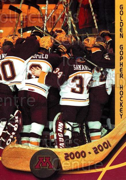 2000-01 Minnesota Golden Gophers #1 Header Card<br/>1 In Stock - $3.00 each - <a href=https://centericecollectibles.foxycart.com/cart?name=2000-01%20Minnesota%20Golden%20Gophers%20%231%20Header%20Card...&price=$3.00&code=643794 class=foxycart> Buy it now! </a>