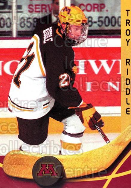 2000-01 Minnesota Golden Gophers #20 Troy Riddle<br/>2 In Stock - $3.00 each - <a href=https://centericecollectibles.foxycart.com/cart?name=2000-01%20Minnesota%20Golden%20Gophers%20%2320%20Troy%20Riddle...&quantity_max=2&price=$3.00&code=643813 class=foxycart> Buy it now! </a>