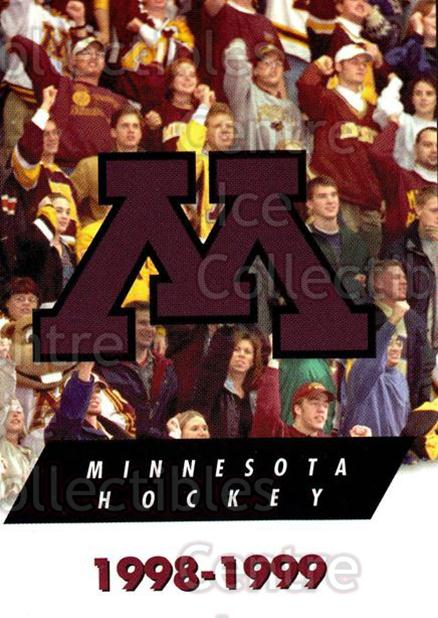 1998-99 Minnesota Golden Gophers #1 Header Card<br/>1 In Stock - $3.00 each - <a href=https://centericecollectibles.foxycart.com/cart?name=1998-99%20Minnesota%20Golden%20Gophers%20%231%20Header%20Card...&price=$3.00&code=643822 class=foxycart> Buy it now! </a>