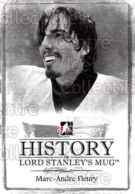 2013-14 ITG Lord Stanleys Mug History #44 Marc-Andre Fleury<br/>3 In Stock - $3.00 each - <a href=https://centericecollectibles.foxycart.com/cart?name=2013-14%20ITG%20Lord%20Stanleys%20Mug%20History%20%2344%20Marc-Andre%20Fleu...&quantity_max=3&price=$3.00&code=643947 class=foxycart> Buy it now! </a>