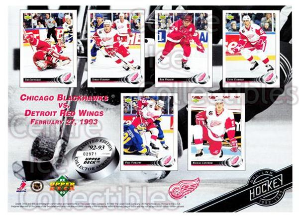 1992-93 Upper Deck Sheets #18 Tim Cheveldae, Sergei Fedorov, Bob Probert, Steve Yzerman, Paul Ysebaert, Nicklas Lidstrom<br/>11 In Stock - $10.00 each - <a href=https://centericecollectibles.foxycart.com/cart?name=1992-93%20Upper%20Deck%20Sheets%20%2318%20Tim%20Cheveldae,%20...&price=$10.00&code=644359 class=foxycart> Buy it now! </a>