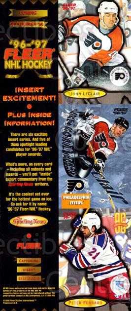 1996-97 Fleer Promos #1 John LeClair, Peter Ferraro<br/>5 In Stock - $5.00 each - <a href=https://centericecollectibles.foxycart.com/cart?name=1996-97%20Fleer%20Promos%20%231%20John%20LeClair,%20P...&price=$5.00&code=644368 class=foxycart> Buy it now! </a>