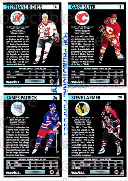 1991-92 Pinnacle Promo Sheets #1 Gary Suter, Stephane Richer, James Patrick, Steve Larmer<br/>12 In Stock - $5.00 each - <a href=https://centericecollectibles.foxycart.com/cart?name=1991-92%20Pinnacle%20Promo%20Sheets%20%231%20Gary%20Suter,%20Ste...&quantity_max=12&price=$5.00&code=644442 class=foxycart> Buy it now! </a>
