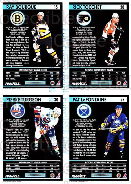 1991-92 Pinnacle Promo Sheets #2 Ray Bourque, Rick Tocchet, Pat LaFontaine, Pierre Turgeon<br/>12 In Stock - $5.00 each - <a href=https://centericecollectibles.foxycart.com/cart?name=1991-92%20Pinnacle%20Promo%20Sheets%20%232%20Ray%20Bourque,%20Ri...&quantity_max=12&price=$5.00&code=644443 class=foxycart> Buy it now! </a>