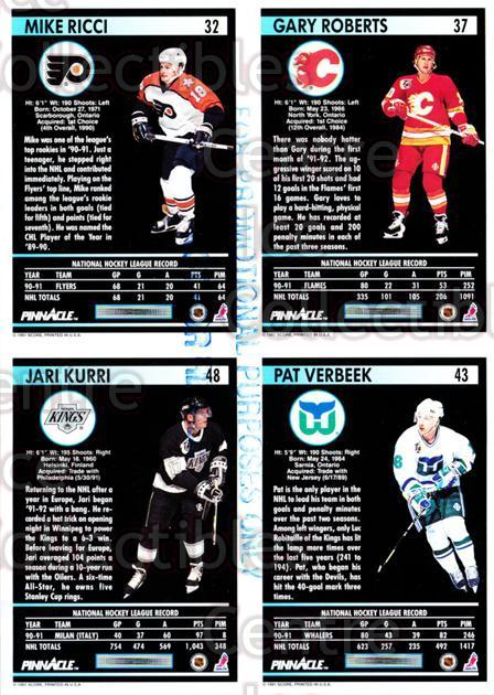 1991-92 Pinnacle Promo Sheets #3 Mike Ricci, Gary Roberts, Pat Verbeek, Jari Kurri<br/>1 In Stock - $5.00 each - <a href=https://centericecollectibles.foxycart.com/cart?name=1991-92%20Pinnacle%20Promo%20Sheets%20%233%20Mike%20Ricci,%20Gar...&quantity_max=1&price=$5.00&code=644444 class=foxycart> Buy it now! </a>