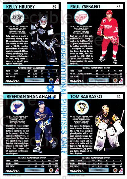 1991-92 Pinnacle Promo Sheets #4 Paul Ysebaert, Kelly Hrudey, Brendan Shanahan, Tom Barrasso<br/>8 In Stock - $5.00 each - <a href=https://centericecollectibles.foxycart.com/cart?name=1991-92%20Pinnacle%20Promo%20Sheets%20%234%20Paul%20Ysebaert,%20...&quantity_max=8&price=$5.00&code=644445 class=foxycart> Buy it now! </a>