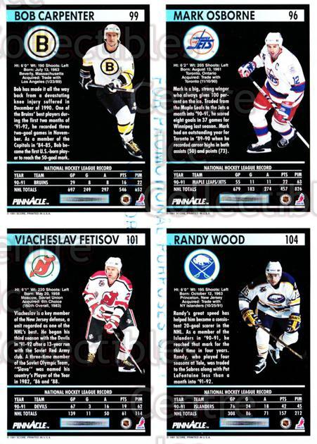 1991-92 Pinnacle Promo Sheets #9 Mark Osborne, Bob Carpenter, Vyacheslav Fetisov, Randy Wood<br/>6 In Stock - $5.00 each - <a href=https://centericecollectibles.foxycart.com/cart?name=1991-92%20Pinnacle%20Promo%20Sheets%20%239%20Mark%20Osborne,%20B...&quantity_max=6&price=$5.00&code=644450 class=foxycart> Buy it now! </a>