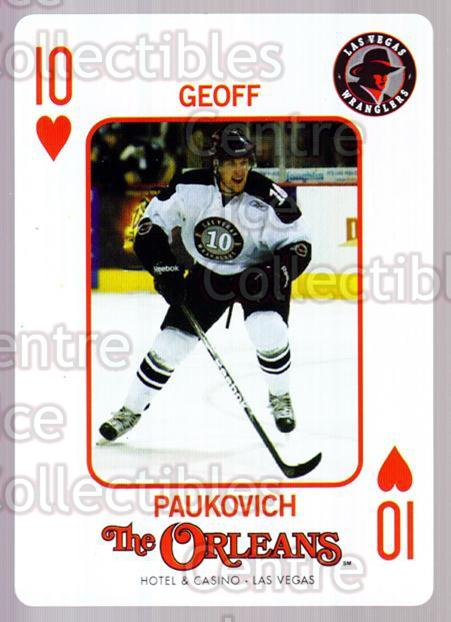 2010-11 Las Vegas Wranglers Playing Card #10 Geoff Paukovich<br/>1 In Stock - $3.00 each - <a href=https://centericecollectibles.foxycart.com/cart?name=2010-11%20Las%20Vegas%20Wranglers%20Playing%20Card%20%2310%20Geoff%20Paukovich...&quantity_max=1&price=$3.00&code=644460 class=foxycart> Buy it now! </a>