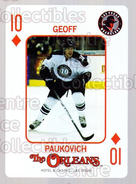 2010-11 Las Vegas Wranglers Playing Card #36 Geoff Paukovich<br/>1 In Stock - $3.00 each - <a href=https://centericecollectibles.foxycart.com/cart?name=2010-11%20Las%20Vegas%20Wranglers%20Playing%20Card%20%2336%20Geoff%20Paukovich...&quantity_max=1&price=$3.00&code=644486 class=foxycart> Buy it now! </a>