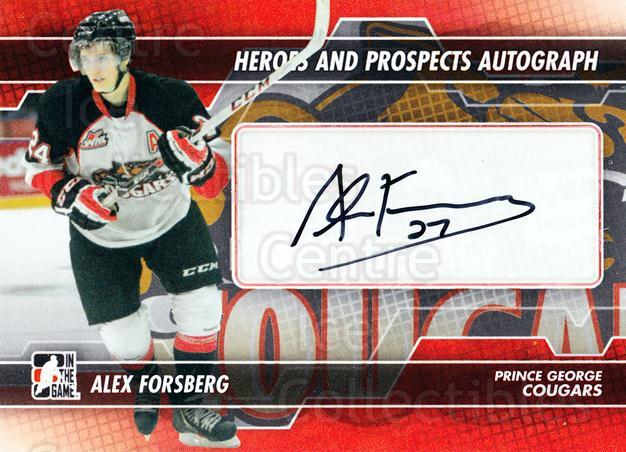2013-14 ITG Heroes and Prospects Auto #AAF Alex Forsberg<br/>1 In Stock - $5.00 each - <a href=https://centericecollectibles.foxycart.com/cart?name=2013-14%20ITG%20Heroes%20and%20Prospects%20Auto%20%23AAF%20Alex%20Forsberg...&price=$5.00&code=645229 class=foxycart> Buy it now! </a>