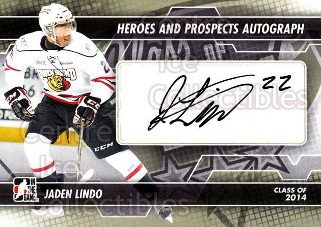 2013-14 ITG Heroes and Prospects Auto #AJL Jaden Lindo<br/>1 In Stock - $5.00 each - <a href=https://centericecollectibles.foxycart.com/cart?name=2013-14%20ITG%20Heroes%20and%20Prospects%20Auto%20%23AJL%20Jaden%20Lindo...&quantity_max=1&price=$5.00&code=645273 class=foxycart> Buy it now! </a>