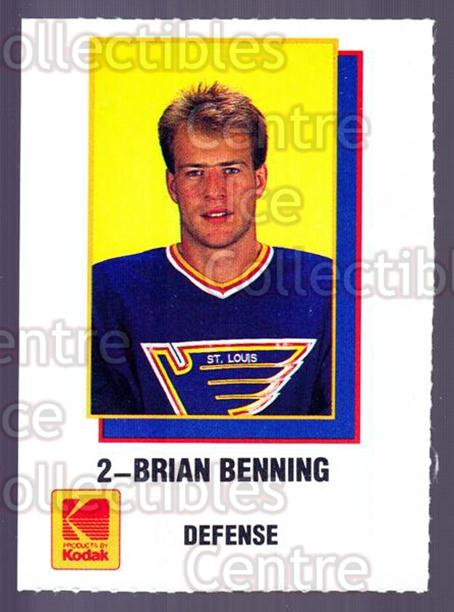 1988-89 St. Louis Blues Kodak #1 Brian Benning<br/>1 In Stock - $3.00 each - <a href=https://centericecollectibles.foxycart.com/cart?name=1988-89%20St.%20Louis%20Blues%20Kodak%20%231%20Brian%20Benning...&quantity_max=1&price=$3.00&code=645475 class=foxycart> Buy it now! </a>