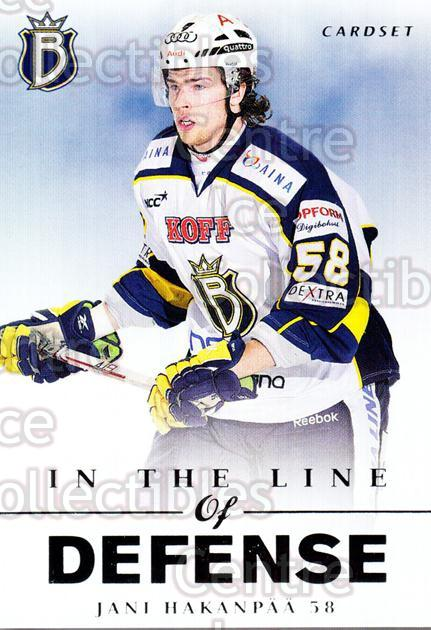 2012-13 Finnish Cardset In The Line of Defense #1 Jani Hakanpaa<br/>3 In Stock - $3.00 each - <a href=https://centericecollectibles.foxycart.com/cart?name=2012-13%20Finnish%20Cardset%20In%20The%20Line%20of%20Defense%20%231%20Jani%20Hakanpaa...&quantity_max=3&price=$3.00&code=645511 class=foxycart> Buy it now! </a>