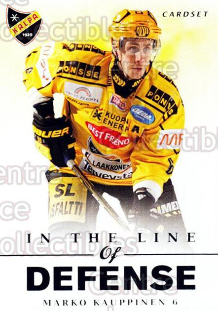2012-13 Finnish Cardset In The Line of Defense #7 Marko Kauppinen<br/>2 In Stock - $3.00 each - <a href=https://centericecollectibles.foxycart.com/cart?name=2012-13%20Finnish%20Cardset%20In%20The%20Line%20of%20Defense%20%237%20Marko%20Kauppinen...&price=$3.00&code=645517 class=foxycart> Buy it now! </a>
