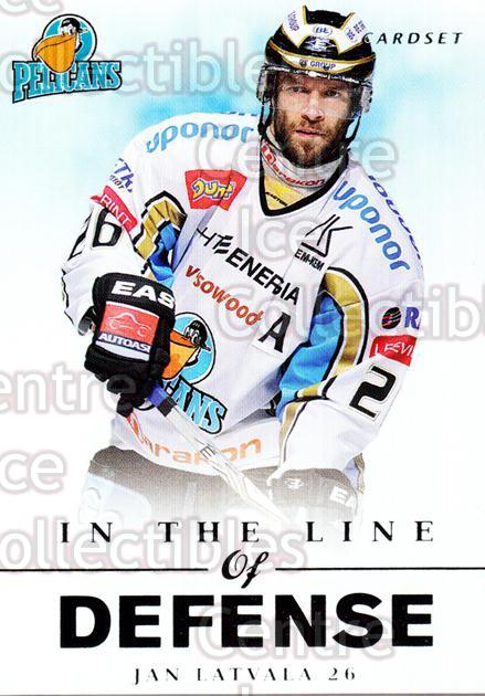 2012-13 Finnish Cardset In The Line of Defense #10 Jan Latvala<br/>3 In Stock - $3.00 each - <a href=https://centericecollectibles.foxycart.com/cart?name=2012-13%20Finnish%20Cardset%20In%20The%20Line%20of%20Defense%20%2310%20Jan%20Latvala...&quantity_max=3&price=$3.00&code=645520 class=foxycart> Buy it now! </a>