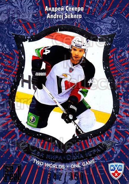 2012-13 Russian KHL AS Series Two Worlds One Game Silver #14 Andrej Sekera<br/>4 In Stock - $5.00 each - <a href=https://centericecollectibles.foxycart.com/cart?name=2012-13%20Russian%20KHL%20AS%20Series%20Two%20Worlds%20One%20Game%20Silver%20%2314%20Andrej%20Sekera...&quantity_max=4&price=$5.00&code=647345 class=foxycart> Buy it now! </a>