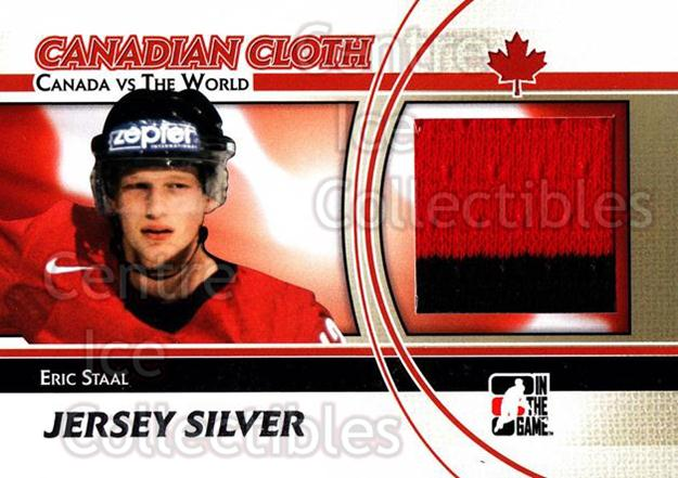 2011-12 ITG Canada vs The World Canadian Cloth Silver #25 Eric Staal<br/>1 In Stock - $10.00 each - <a href=https://centericecollectibles.foxycart.com/cart?name=2011-12%20ITG%20Canada%20vs%20The%20World%20Canadian%20Cloth%20Silver%20%2325%20Eric%20Staal...&quantity_max=1&price=$10.00&code=647693 class=foxycart> Buy it now! </a>