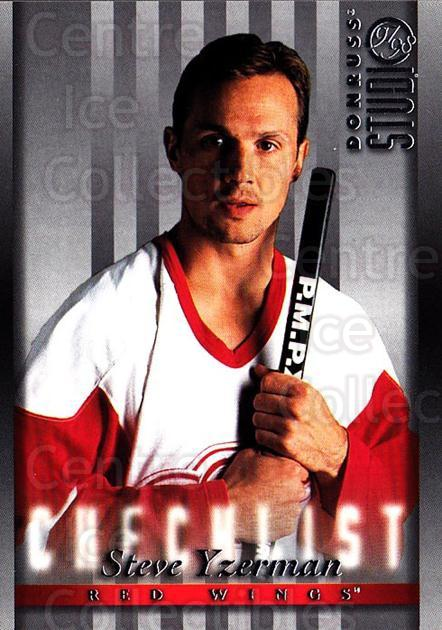 1997-98 Studio #106 Steve Yzerman, Checklist<br/>3 In Stock - $2.00 each - <a href=https://centericecollectibles.foxycart.com/cart?name=1997-98%20Studio%20%23106%20Steve%20Yzerman,%20...&quantity_max=3&price=$2.00&code=64824 class=foxycart> Buy it now! </a>