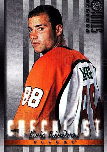 1997-98 Studio #108 Eric Lindros, Checklist<br/>6 In Stock - $1.00 each - <a href=https://centericecollectibles.foxycart.com/cart?name=1997-98%20Studio%20%23108%20Eric%20Lindros,%20C...&quantity_max=6&price=$1.00&code=64826 class=foxycart> Buy it now! </a>