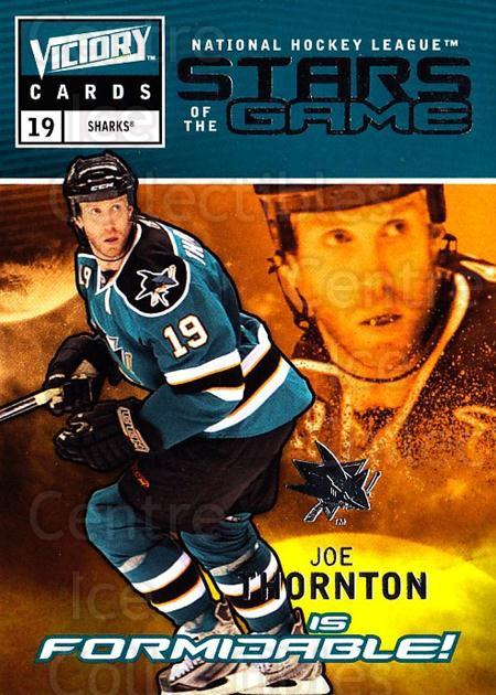2009-10 UD Victory Stars of the Game #9 Joe Thornton<br/>2 In Stock - $2.00 each - <a href=https://centericecollectibles.foxycart.com/cart?name=2009-10%20UD%20Victory%20Stars%20of%20the%20Game%20%239%20Joe%20Thornton...&quantity_max=2&price=$2.00&code=650311 class=foxycart> Buy it now! </a>