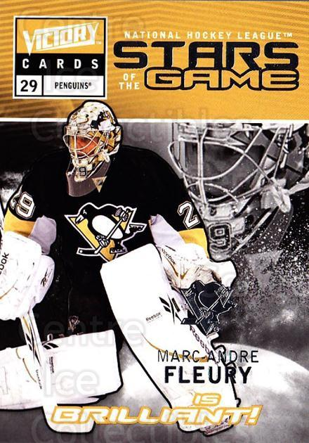 2009-10 UD Victory Stars of the Game #38 Marc-Andre Fleury<br/>2 In Stock - $3.00 each - <a href=https://centericecollectibles.foxycart.com/cart?name=2009-10%20UD%20Victory%20Stars%20of%20the%20Game%20%2338%20Marc-Andre%20Fleu...&quantity_max=2&price=$3.00&code=650340 class=foxycart> Buy it now! </a>