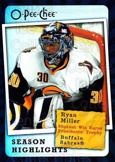 2007-08 O-Pee-Chee Season Highlights #3 Ryan Miller<br/>3 In Stock - $2.00 each - <a href=https://centericecollectibles.foxycart.com/cart?name=2007-08%20O-Pee-Chee%20Season%20Highlights%20%233%20Ryan%20Miller...&quantity_max=3&price=$2.00&code=650355 class=foxycart> Buy it now! </a>