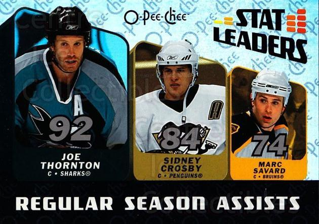 2007-08 O-Pee-Chee Stat Leaders #2 Joe Thornton, Marc Savard, Sidney Crosby<br/>1 In Stock - $5.00 each - <a href=https://centericecollectibles.foxycart.com/cart?name=2007-08%20O-Pee-Chee%20Stat%20Leaders%20%232%20Joe%20Thornton,%20M...&quantity_max=1&price=$5.00&code=650374 class=foxycart> Buy it now! </a>