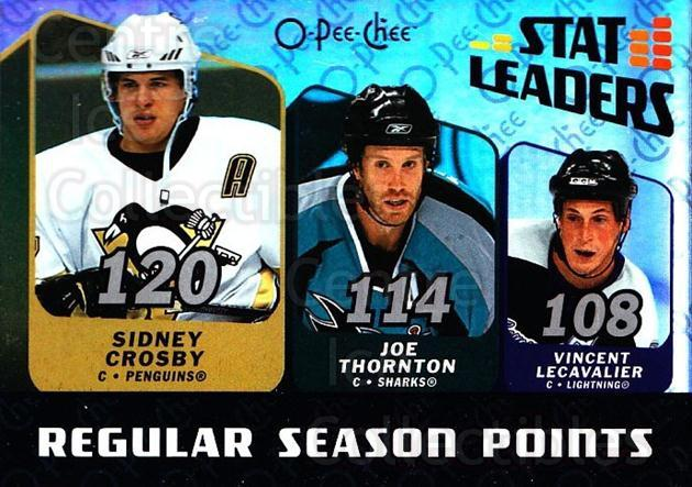 2007-08 O-Pee-Chee Stat Leaders #3 Vincent Lecavalier, Joe Thornton, Sidney Crosby<br/>2 In Stock - $5.00 each - <a href=https://centericecollectibles.foxycart.com/cart?name=2007-08%20O-Pee-Chee%20Stat%20Leaders%20%233%20Vincent%20Lecaval...&quantity_max=2&price=$5.00&code=650375 class=foxycart> Buy it now! </a>
