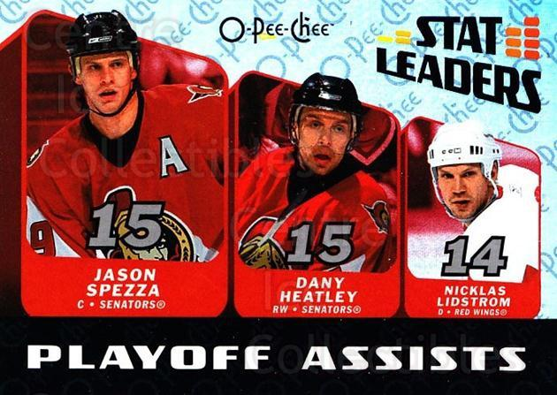 2007-08 O-Pee-Chee Stat Leaders #14 Nicklas Lidstrom, Jason Spezza, Dany Heatley<br/>1 In Stock - $2.00 each - <a href=https://centericecollectibles.foxycart.com/cart?name=2007-08%20O-Pee-Chee%20Stat%20Leaders%20%2314%20Nicklas%20Lidstro...&quantity_max=1&price=$2.00&code=650386 class=foxycart> Buy it now! </a>