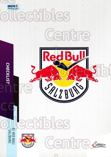 2014-15 Erste Bank Eishockey Liga EBEL #386 Checklist, EC Red Bull Salzburg<br/>4 In Stock - $2.00 each - <a href=https://centericecollectibles.foxycart.com/cart?name=2014-15%20Erste%20Bank%20Eishockey%20Liga%20EBEL%20%23386%20Checklist,%20EC%20R...&quantity_max=4&price=$2.00&code=652409 class=foxycart> Buy it now! </a>