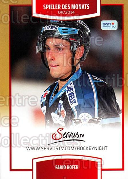 2014-15 Erste Bank Eishockey Liga EBEL #398 Fabio Hofer<br/>4 In Stock - $2.00 each - <a href=https://centericecollectibles.foxycart.com/cart?name=2014-15%20Erste%20Bank%20Eishockey%20Liga%20EBEL%20%23398%20Fabio%20Hofer...&quantity_max=4&price=$2.00&code=652421 class=foxycart> Buy it now! </a>