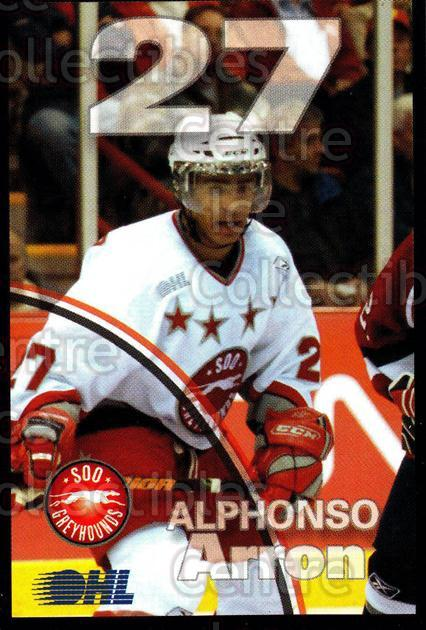 2007-08 Sault Ste. Marie Greyhounds #1 Arron Alphonso<br/>4 In Stock - $3.00 each - <a href=https://centericecollectibles.foxycart.com/cart?name=2007-08%20Sault%20Ste.%20Marie%20Greyhounds%20%231%20Arron%20Alphonso...&quantity_max=4&price=$3.00&code=652435 class=foxycart> Buy it now! </a>