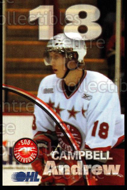 2007-08 Sault Ste. Marie Greyhounds #3 Andrew Campbell<br/>1 In Stock - $3.00 each - <a href=https://centericecollectibles.foxycart.com/cart?name=2007-08%20Sault%20Ste.%20Marie%20Greyhounds%20%233%20Andrew%20Campbell...&quantity_max=1&price=$3.00&code=652437 class=foxycart> Buy it now! </a>