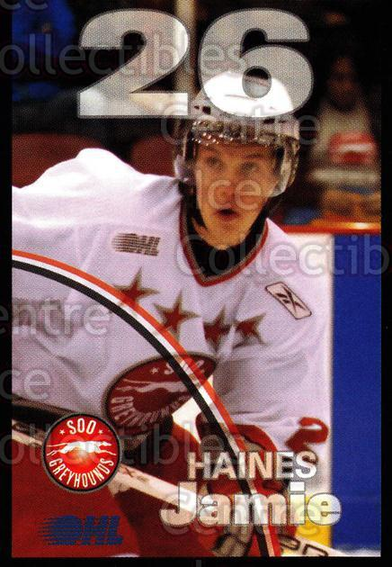 2007-08 Sault Ste. Marie Greyhounds #10 Jamie Haines<br/>4 In Stock - $3.00 each - <a href=https://centericecollectibles.foxycart.com/cart?name=2007-08%20Sault%20Ste.%20Marie%20Greyhounds%20%2310%20Jamie%20Haines...&quantity_max=4&price=$3.00&code=652444 class=foxycart> Buy it now! </a>