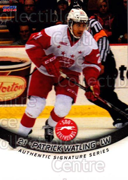 2013-14 Sault Ste. Marie Greyhounds #11 Patrick Watling<br/>2 In Stock - $3.00 each - <a href=https://centericecollectibles.foxycart.com/cart?name=2013-14%20Sault%20Ste.%20Marie%20Greyhounds%20%2311%20Patrick%20Watling...&quantity_max=2&price=$3.00&code=652505 class=foxycart> Buy it now! </a>