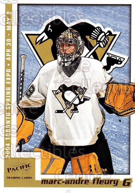 2004 Pacific Toronto Spring Expo Redemption Gold #7 Marc-Andre Fleury<br/>1 In Stock - $5.00 each - <a href=https://centericecollectibles.foxycart.com/cart?name=2004%20Pacific%20Toronto%20Spring%20Expo%20Redemption%20Gold%20%237%20Marc-Andre%20Fleu...&quantity_max=1&price=$5.00&code=652748 class=foxycart> Buy it now! </a>