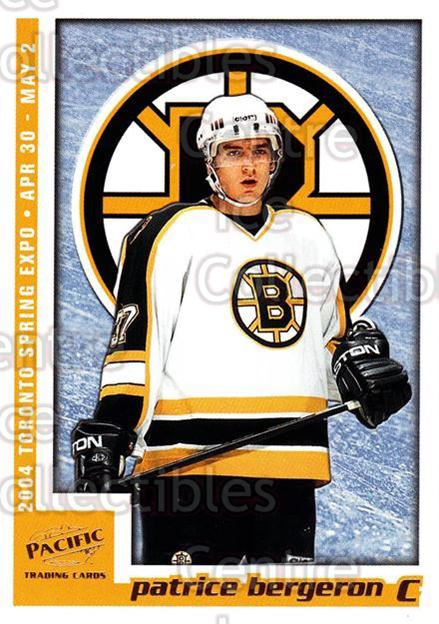 2004 Pacific Toronto Spring Expo Redemption Gold #1 Patrice Bergeron<br/>1 In Stock - $10.00 each - <a href=https://centericecollectibles.foxycart.com/cart?name=2004%20Pacific%20Toronto%20Spring%20Expo%20Redemption%20Gold%20%231%20Patrice%20Bergero...&quantity_max=1&price=$10.00&code=652750 class=foxycart> Buy it now! </a>