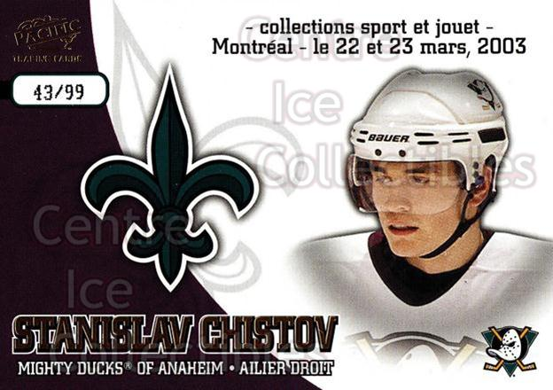 2003 Pacific Montreal International Spring Redemption Gold #1 Stanislav Chistov<br/>1 In Stock - $5.00 each - <a href=https://centericecollectibles.foxycart.com/cart?name=2003%20Pacific%20Montreal%20International%20Spring%20Redemption%20Gold%20%231%20Stanislav%20Chist...&quantity_max=1&price=$5.00&code=652756 class=foxycart> Buy it now! </a>