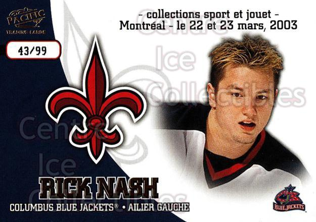 2003 Pacific Montreal International Spring Redemption Gold #3 Rick Nash<br/>1 In Stock - $5.00 each - <a href=https://centericecollectibles.foxycart.com/cart?name=2003%20Pacific%20Montreal%20International%20Spring%20Redemption%20Gold%20%233%20Rick%20Nash...&quantity_max=1&price=$5.00&code=652758 class=foxycart> Buy it now! </a>