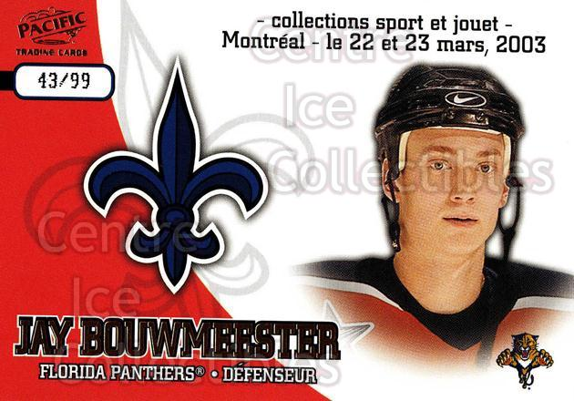 2003 Pacific Montreal International Spring Redemption Gold #5 Jay Bouwmeester<br/>1 In Stock - $5.00 each - <a href=https://centericecollectibles.foxycart.com/cart?name=2003%20Pacific%20Montreal%20International%20Spring%20Redemption%20Gold%20%235%20Jay%20Bouwmeester...&quantity_max=1&price=$5.00&code=652760 class=foxycart> Buy it now! </a>