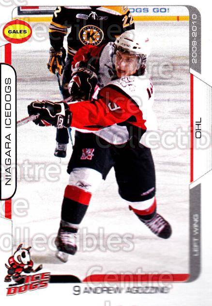 2009-10 Niagara IceDogs #6 Andrew Agozzino<br/>1 In Stock - $3.00 each - <a href=https://centericecollectibles.foxycart.com/cart?name=2009-10%20Niagara%20IceDogs%20%236%20Andrew%20Agozzino...&quantity_max=1&price=$3.00&code=652769 class=foxycart> Buy it now! </a>