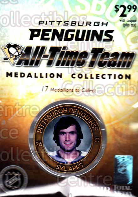 2009-10 Pittsburgh Penguins All-Time Medallion #1 Syl Apps<br/>1 In Stock - $5.00 each - <a href=https://centericecollectibles.foxycart.com/cart?name=2009-10%20Pittsburgh%20Penguins%20All-Time%20Medallion%20%231%20Syl%20Apps...&quantity_max=1&price=$5.00&code=653900 class=foxycart> Buy it now! </a>
