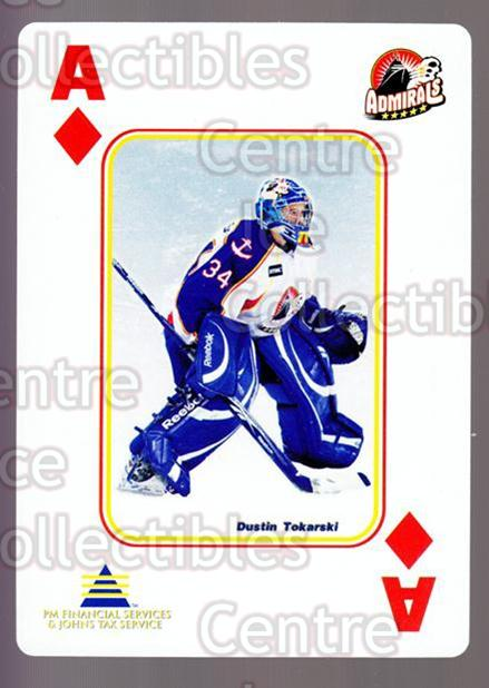 2009-10 Norfolk Admirals Playing Card #1 Dustin Tokarski<br/>1 In Stock - $3.00 each - <a href=https://centericecollectibles.foxycart.com/cart?name=2009-10%20Norfolk%20Admirals%20Playing%20Card%20%231%20Dustin%20Tokarski...&price=$3.00&code=653992 class=foxycart> Buy it now! </a>