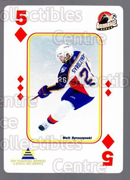 2009-10 Norfolk Admirals Playing Card #5 Matt Syroczynski<br/>1 In Stock - $3.00 each - <a href=https://centericecollectibles.foxycart.com/cart?name=2009-10%20Norfolk%20Admirals%20Playing%20Card%20%235%20Matt%20Syroczynsk...&price=$3.00&code=653996 class=foxycart> Buy it now! </a>