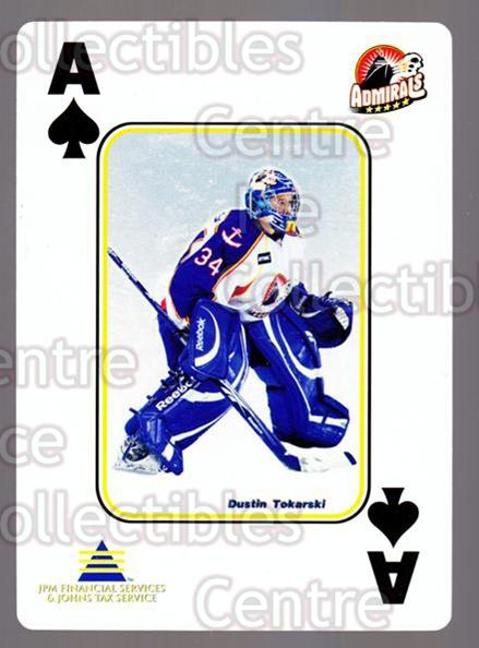 2009-10 Norfolk Admirals Playing Card #27 Dustin Tokarski<br/>1 In Stock - $3.00 each - <a href=https://centericecollectibles.foxycart.com/cart?name=2009-10%20Norfolk%20Admirals%20Playing%20Card%20%2327%20Dustin%20Tokarski...&price=$3.00&code=654018 class=foxycart> Buy it now! </a>