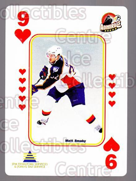 2009-10 Norfolk Admirals Playing Card #48 Matt Smaby<br/>2 In Stock - $3.00 each - <a href=https://centericecollectibles.foxycart.com/cart?name=2009-10%20Norfolk%20Admirals%20Playing%20Card%20%2348%20Matt%20Smaby...&price=$3.00&code=654039 class=foxycart> Buy it now! </a>