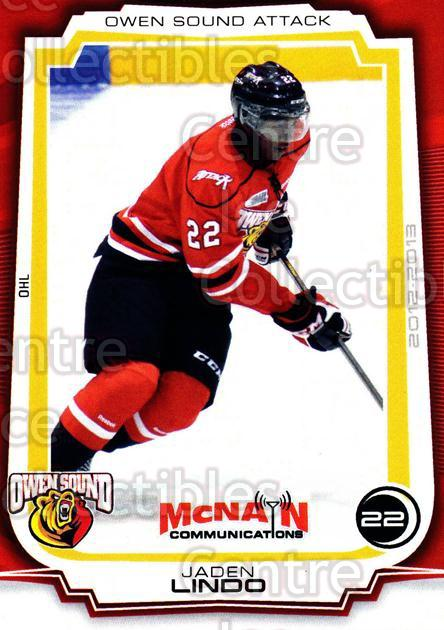 2012-13 Owen Sound Attack #17 Jaden Lindo<br/>2 In Stock - $3.00 each - <a href=https://centericecollectibles.foxycart.com/cart?name=2012-13%20Owen%20Sound%20Attack%20%2317%20Jaden%20Lindo...&quantity_max=2&price=$3.00&code=654250 class=foxycart> Buy it now! </a>