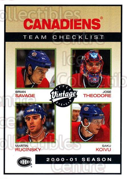 2001-02 UD Vintage #139 Brian Savage, Jose Theodore, Martin Rucinsky, Saku Koivu<br/>1 In Stock - $1.00 each - <a href=https://centericecollectibles.foxycart.com/cart?name=2001-02%20UD%20Vintage%20%23139%20Brian%20Savage,%20J...&quantity_max=1&price=$1.00&code=655070 class=foxycart> Buy it now! </a>